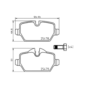 HELLA 355020111 RR Brake Pad For MINI COUNTRYMAN