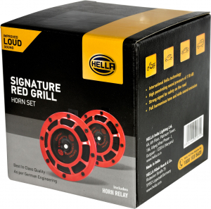 HELLA 003399842 Signature Red Grill Horn Set - Retail Pack