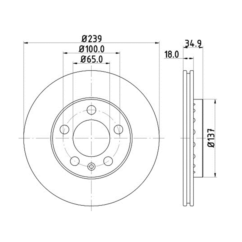 HELLA 355107651  Front Brake Disc 6Q0 615 301 For SKODA : Fabia ( 1.2 TSI / 1.4 TSI  ) , VW : Polo  ( 1.2 TSI )